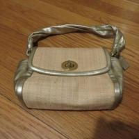 China Coach Beige straw evening bag purse with gold trim good used condition authentic wholesale
