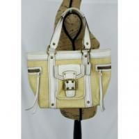 China Coach Legacy Woven Straw Leather Purse Shoulder Bag Buckle White EUC wholesale