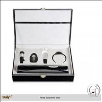 China Wholesale Wine Accessory Wine Stopper Gift Set With Leather Box on sale