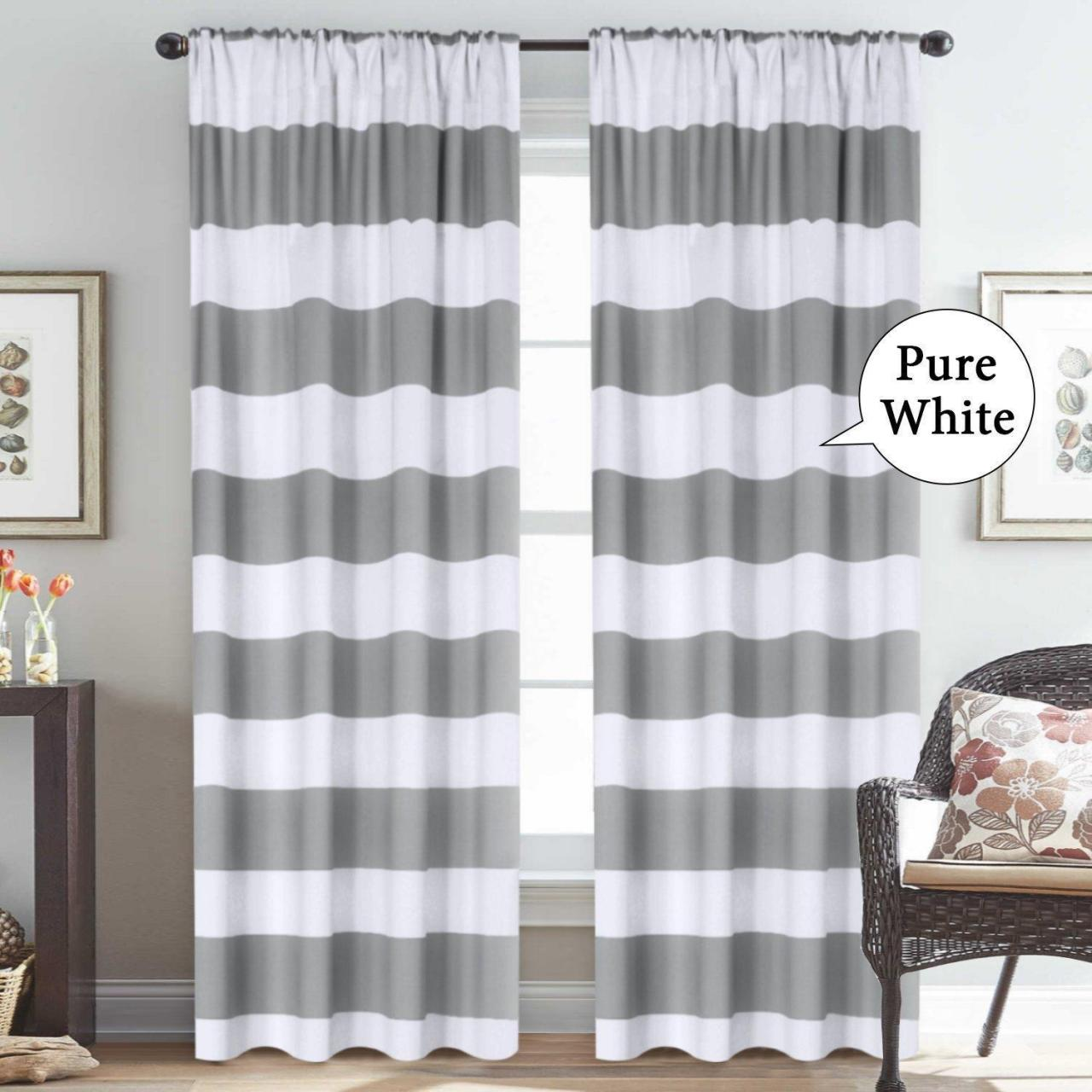 China Strip Printing Blackout Rod Pocket Window Curtains for Living Room Grey & Pure White on sale