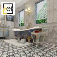 China High Quality Bathroom Floor Nature Hexagon Black And White Marble Mosaic Floor Tiles on sale