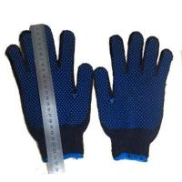 China 7 Gauge Navy Blue Cotton Glove With PVC Dotted on sale