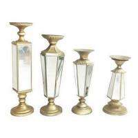 China Golden Taper Candle Holders Metal and mirror wholesale