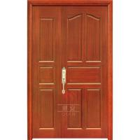 China Large solid core wood timber unequal double door external solid hardwood front doors wholesale