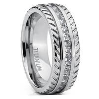 China 8mm mens titanium wedding bands rings for women and men on sale