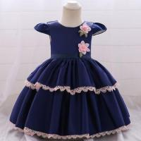 China Low Moq Baby Cake Dress Children Frock Design Girl Flower Party Wear L1872XZ wholesale