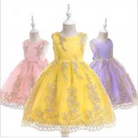 China Baby Frock Design Pictures Kids Summer Wear Bridesmaid Floral Satin Casual Girl Party wholesale