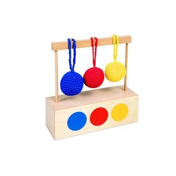 Quality Toys Montessori Montessori Material Infant Toy - Imbucare Box With 3 Colored Knit Balls for sale