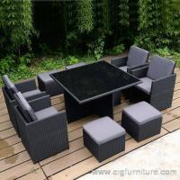 Outdoor 9 pce Dining Set Table & Chairs Wicker Rattan Indoor Ottmans