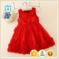 China 2015 Autumn Korean kids clothes wearing children sleeveless red flowers girls puffy dresses on sale wholesale