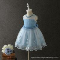 China hot summer special washable beautiful dresses wave skirt tail sky color graceful garment wholesale