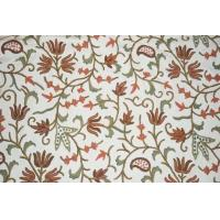 Buy cheap Velvet Crewel Embroidered Fabric Teal, Multicolor #CV602 from wholesalers