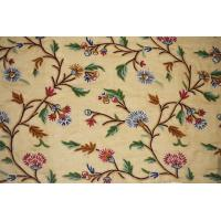 Buy cheap Linen Crewel Embroidered Sheer Fabric Beige, Multicolor #FLR612 from wholesalers