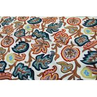 Buy cheap Linen Crewel Embroidered Fabric Floral, White on Grey #FLR641 from wholesalers