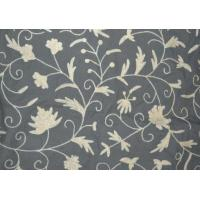 Buy cheap Cotton Crewel Embroidered Fabric Floral, White on Grey #FLR421 from wholesalers
