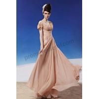 China Pink V-neck Lace Cap Sleeves Low Back Chiffon Princess Prom Dress BY313 on sale