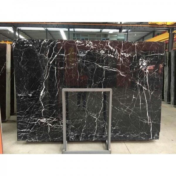 Quality Black Marquina Slabs And Cut To Sizes Black Marble With White Veins For Interior Floor And Wall for sale
