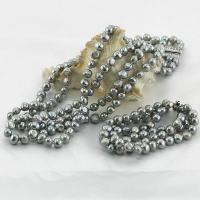 China 8mm AA baroque triple rows silver gray 925 sterling silver freshwater pearl necklace bracelet wholesale