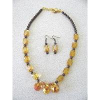 China Necklaces with Matching Earrings Yellow glass crystal wholesale