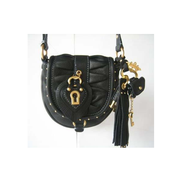 Juicy Couture Black Leather Shoulder Bag 30